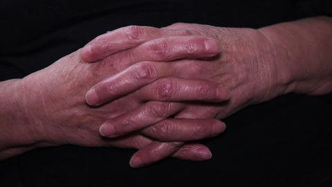 Old Woman's Hands Close Up Footage