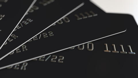 Black plastic credit cards 3D rendering フォト
