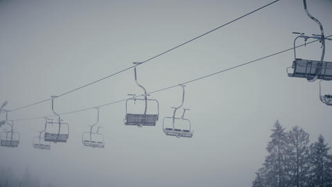 Empty skilift or chairlift in action Footage