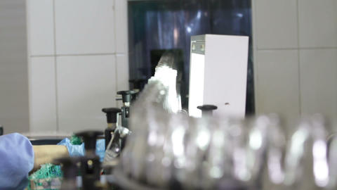 Conveyor with clean milk bottles at big factory Footage