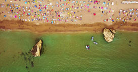 Aerial View From Drone Of People Having Fun On Beach In Portugal 영상물