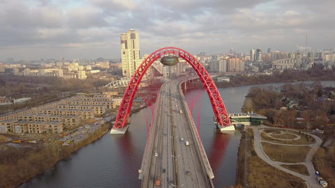 Metal construction of red arch cable stayed Picturesque bridge over Moscow river 영상물