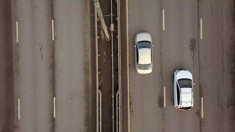Car traffic on Picturesque bridge over Moscow river on background city landscape Footage