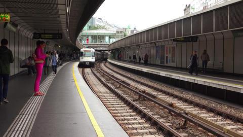 Metro in Vienna. The train in the subway. Vienna, Austria. 4K Footage