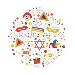Purim holiday flat design icons set in round shape ベクター