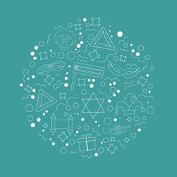 Purim holiday flat design white thin line icons set in round sha ベクター