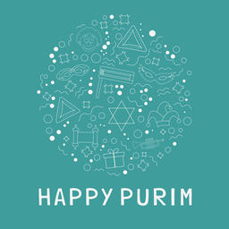 Purim holiday flat design white thin line icons set in star of d ベクター