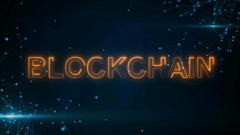 Blockchain with hologram businessman concept Image