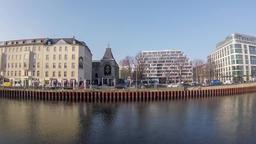 Time Lapse: Spree At Schiffbauerdamm With Theatre of Berliner Ensemble In Berlin Footage