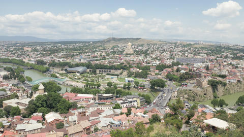 City landscape. View of the city of Tbilisi from a height - Georgia Footage