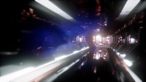 Computer generated ride in a spaceship tunnel Footage