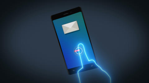 Stylish Phone send Mail, Newsletter,Social Media or viral Message into an inbox Bild