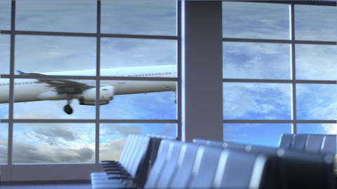 Commercial airplane landing at Sydney international airport. Travelling to Image