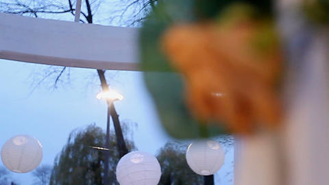 Decorations for a romantic date. part of the arch with a... Stock Video Footage