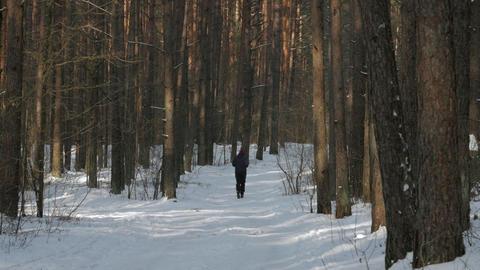 male runner running winter marathon Footage
