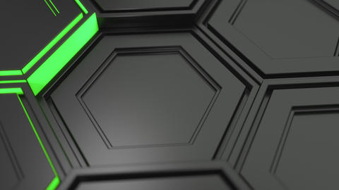 Wall of black hexagons with green glow Animation