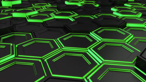 Wall of black hexagons with green glow Image