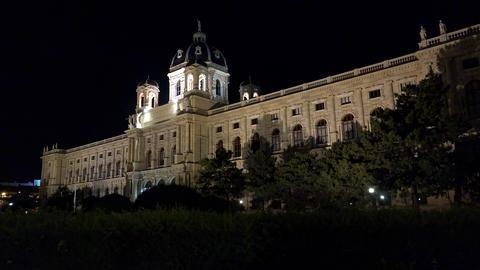 Vein. Vienna. Wien. Maria-Theresien-Platz. Night. Austria. 4K Footage
