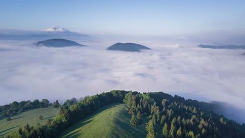 Fly above epic clouds in summer morning. Hyper time lapse Footage