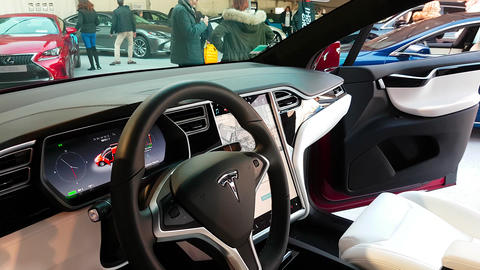 The Interior of a Tesla Model X Electric Car Footage