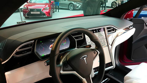 The Interior of a Tesla Model X Electric Car Stock Video Footage