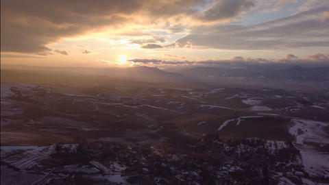 Aerial sunset over rural country Footage