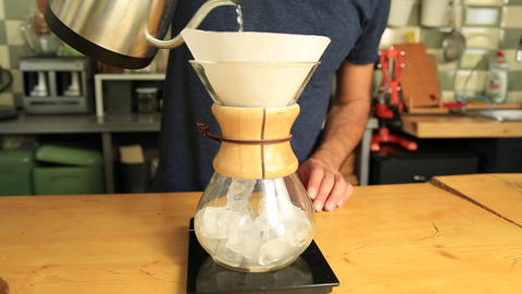 Chemex Coffee Brewing in the Cafe Live Action