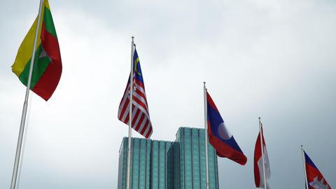ASEAN flag waving on sky backgrund Footage