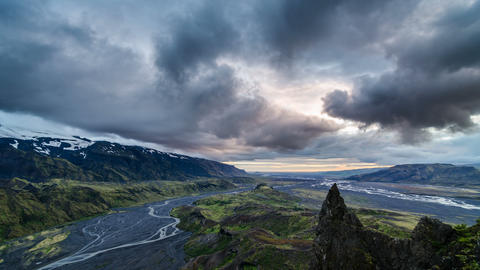 Evening sky over Iceland mountains landscape. Time lapse Footage