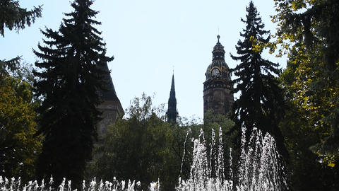 Dancing fountain over cathedral in Kosice Archivo
