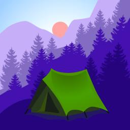 Camping cartoon. Tourist tent in mountains ベクター