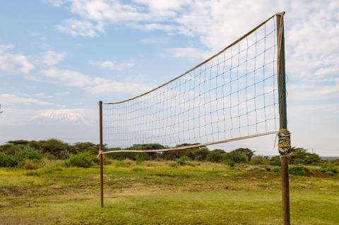 Handball net in the countryside facing Kilimanjaro in northweste フォト