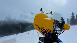 Snow making machine close up. Snow cannon in winter. Snow-gun Footage