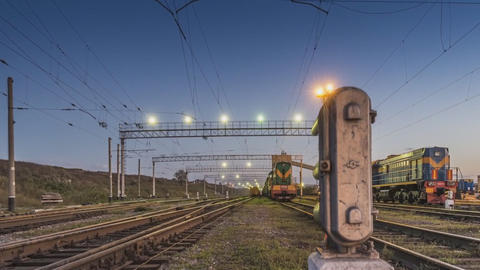 locomotives at railway station ( time-lapse) Footage