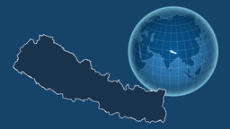 Nepal and Globe. Solids Animation