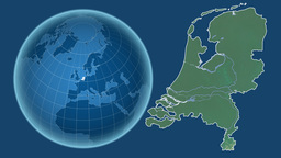 Netherlands and Globe. Relief Animation
