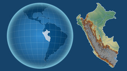 Peru and Globe. Relief Animation