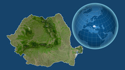 Romania And Globe. Satellite stock footage
