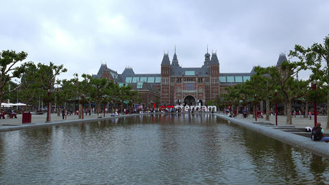 Netherlands videoclip national museum called Rijksmuseum at museum square City o Footage