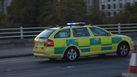 Emergency car on duty - LONDON, ENGLAND Live Action