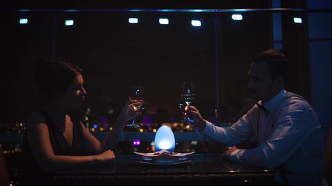 Couple Having Romantic Dinner At Restaurant Footage