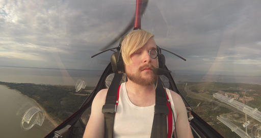 Man In The Cabin Of The Small Aircraft Footage