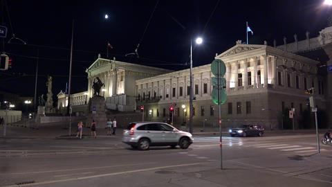 Municipality, the administration of Vienna. Hohes Haus. Night. Austria. 4K Footage