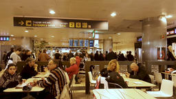 Madrid, Spain - February 5, 2018: People eating at the Madrid Airport bar ビデオ