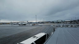 Madrid Airport tarmac in the winter Image