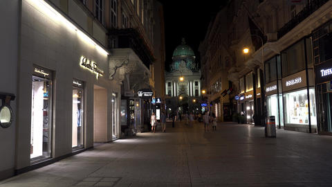 Ancient narrow street in central Vienna. Old town. Night. Austria. 4K Image