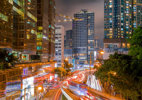 Night Street of Hong Kong with Skyscrapers and Traffic Photo