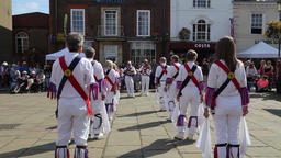 Royal Oak Morris dancers at Wallingford UK as part of the BunkFest music and Footage