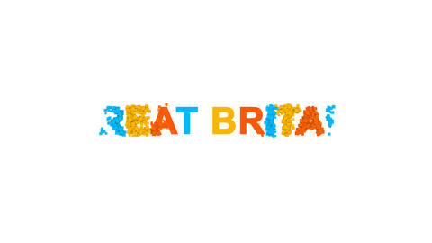country name GREAT BRITAIN from letters of different colors appears behind small Animation
