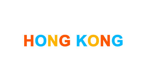 country name HONG KONG from letters of different colors appears behind small Animation